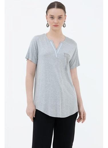 Sementa V Yaka Şerit Detaylı Tshirt - Gri Gri